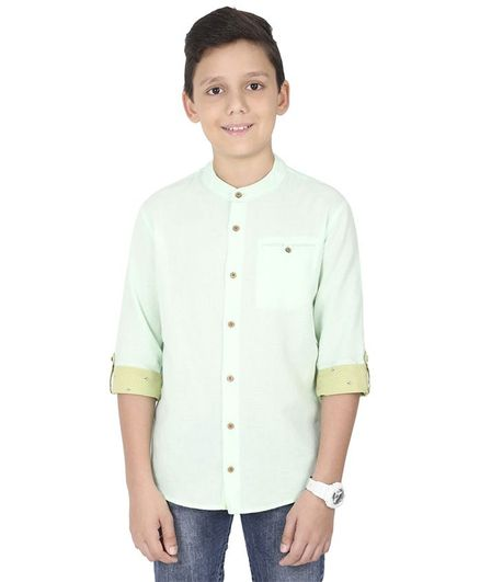 MANET Melange Three Fourth Sleeves Solid Shirt Solid - Pista