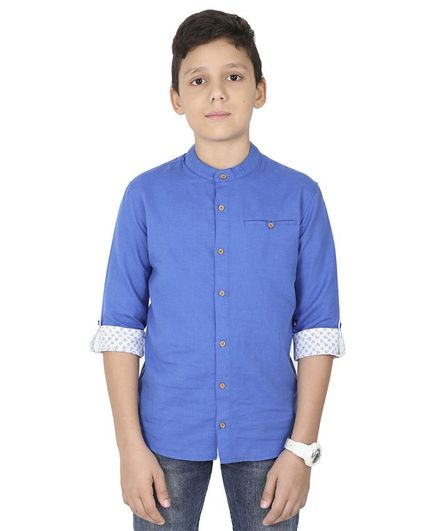 MANET Melange Three Fourth Sleeves Solid Shirt - Blue