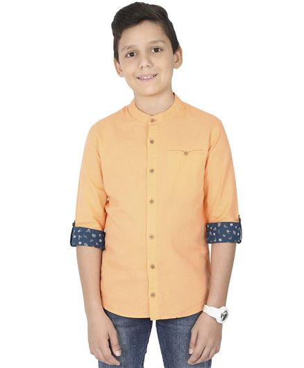 MANET Melange Three Fourth Sleeves Solid Shirt  - Orange