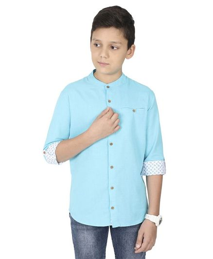 MANET Melange Three Fourth Sleeves Solid Shirt - Turquoise