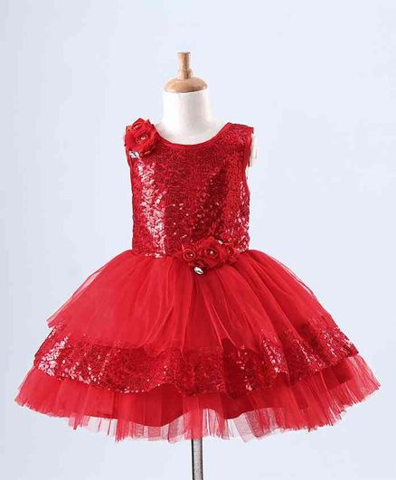 Bluebell Sleeveless Sequined Party Wear Frock Floral Applique - Maroon