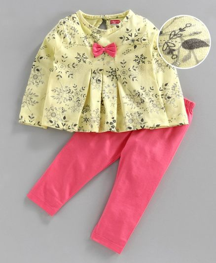 Babyhug Full Sleeves Top & Leggings - Yellow Pink