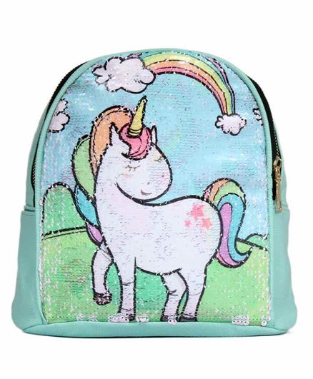 EZ Life Bag Sequin Unicorn Rainbow Design Aqua Green - 6 Inches