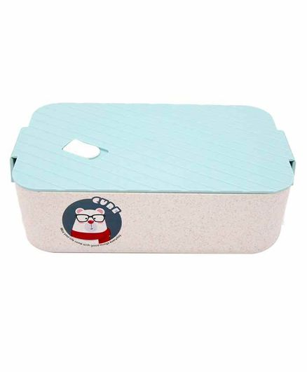 EZ Life Bamboo Fibre Rectangle Shaped Lunch Box With Spoon - Blue White