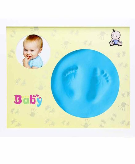 EZ Life Baby Photo Wooden Wall Frame with Hand & Foot Permanent Impressions - Blue
