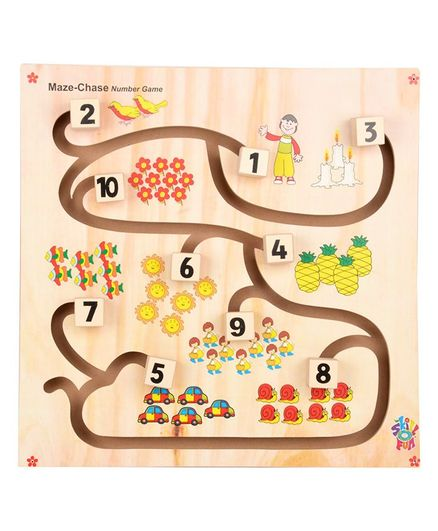 Skillofun - Wooden Maze Chase Number Game