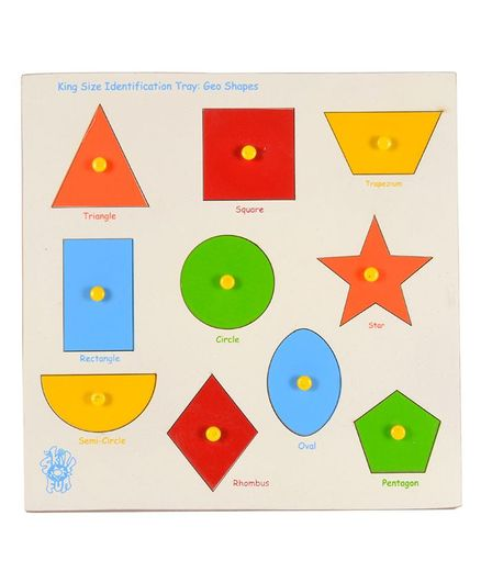 Skillofun - King Size Identification Wooden Tray Geo Shapes