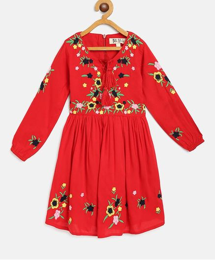 Bella Moda Full Sleeves Floral Embroidered Dress - Red