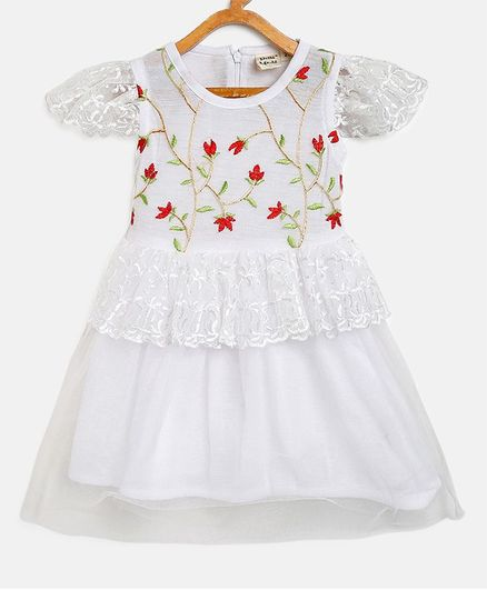 Bella Moda Short Sleeves Floral Work Lace Detailed Dress - White