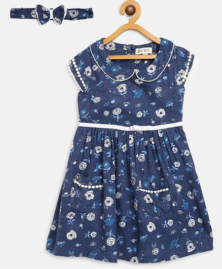 Bella Moda Flower Print Cap Sleeves Dress With Headband - Blue