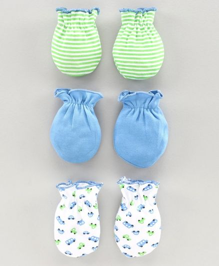 Babyhug 100 % Cotton Mittens Pack of 3 - Green Blue