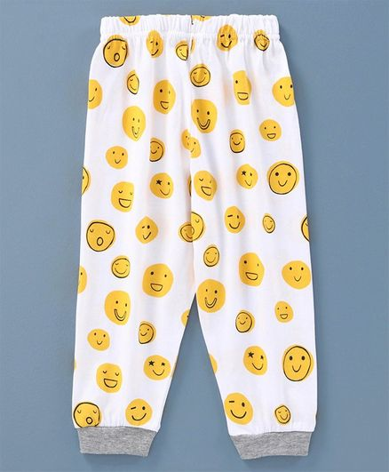 Ollypop Full Length Lounge Pant Smiley Print - White Yellow
