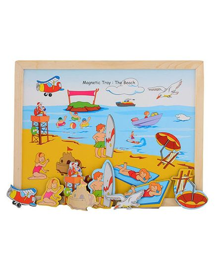 Wooden And Magnetic Twin Play Tray The Beach