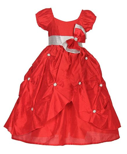 Samsara Couture Bow At Waistline Short Sleeves Gown - Red