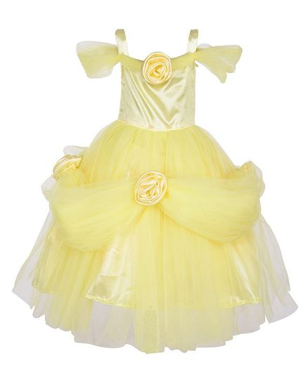 Samsara Couture Flower Decorated Short Sleeve Gown - Yellow