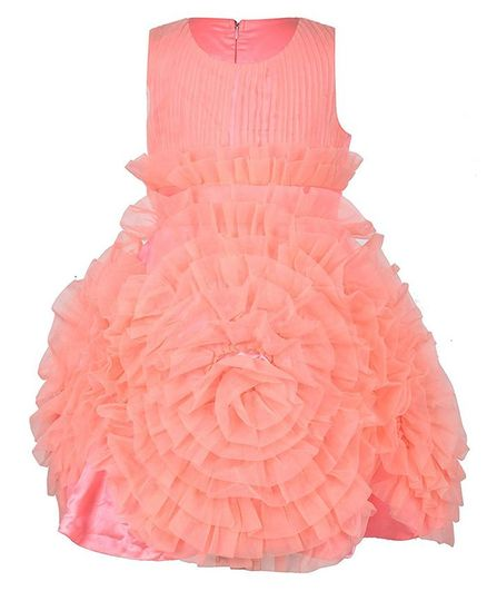 Samsara Couture Ruffled Sleeveless Dress - Peach