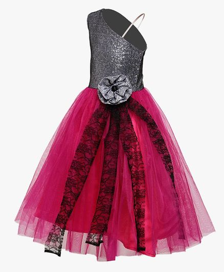 Samsara Couture Flower At Waistline Sleeveless Gown - Pink & Black