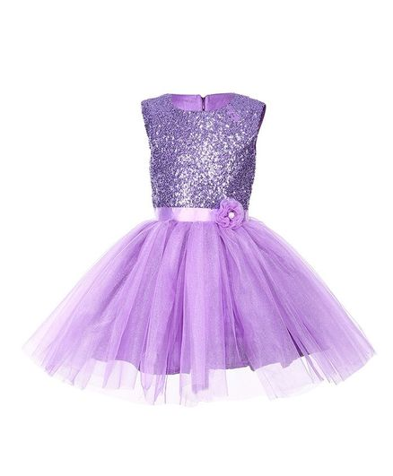 Samsara Couture Sequin Work Sleeveless Dress - Lavender