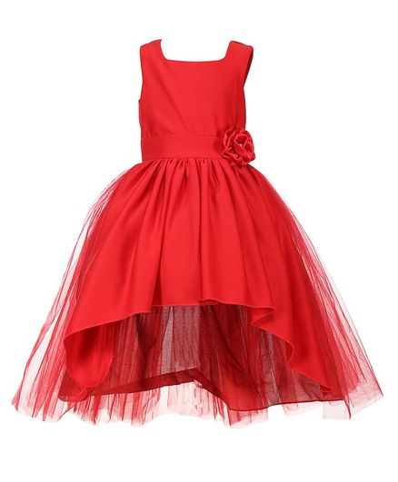 Samsara Couture Flower At Waistline Sleeveless Dress - Red