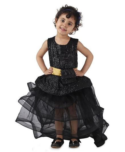 Samsara Couture Sequin Bodice Sleeveless Tail Gown - Black
