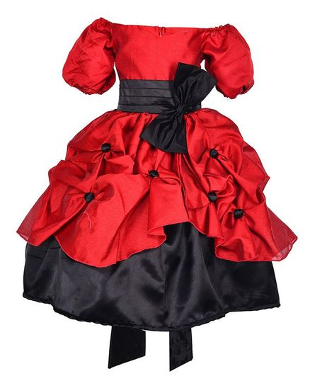 Samsara Couture Bow At Waistline Half Sleeves Gown - Red
