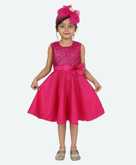 Samsara Couture Sleeveless Glitter Finish Yoke Dress - Pink