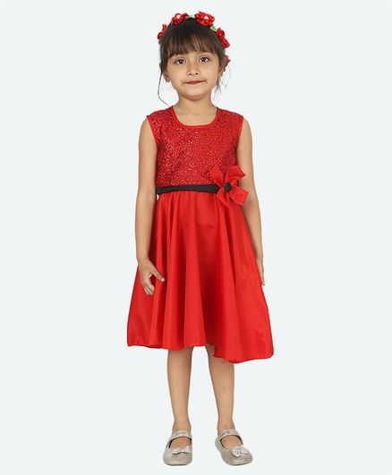 Samsara Couture Sleeveless Glitter Finish Yoke Dress - Red