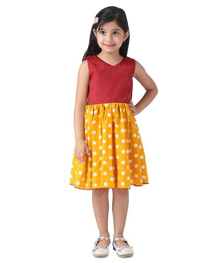 Samsara Couture Sleeveless Polka Dot Print Dress - Yellow