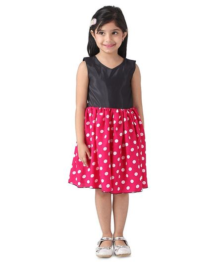 Samsara Couture Sleeveless Polka Dot Print Dress - Red