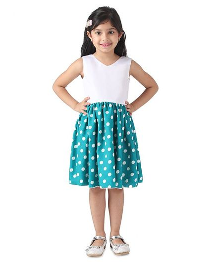Samsara Couture Sleeveless Polka Dot Print Dress - Blue