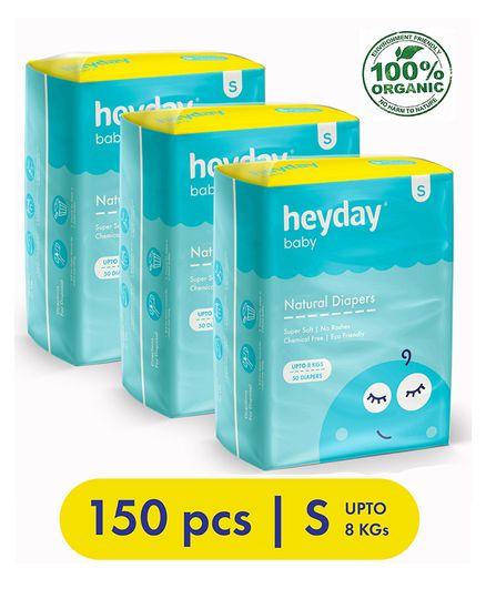 Heyday Natural & Organic Small Baby Diapers Pack of 3 - 150 Pieces