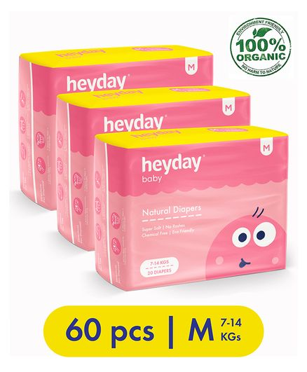 Heyday Natural & Organic Medium Baby Diapers Pack of 3 - 60 Pieces