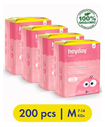 Heyday Natural & Organic Medium Baby Diapers Pack of 4 - 200 Pieces