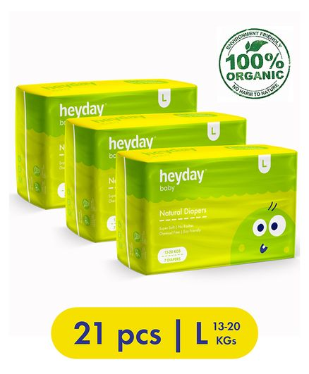 Heyday Natural & Organic Large Baby Diapers Pack of 3 - 21 Pieces