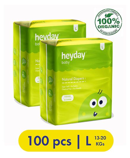 Heyday Natural & Organic Large Baby Diapers Pack of 2 - 100 Pieces