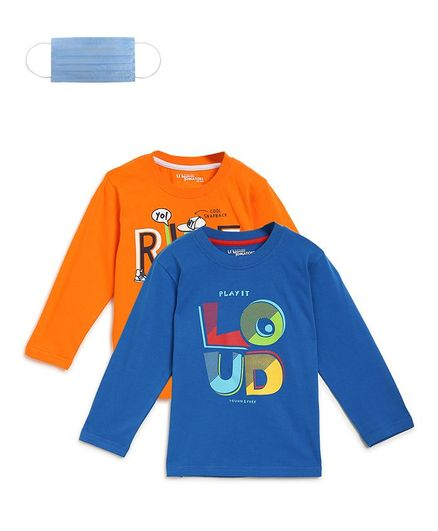 Li'L tomatoes Full Sleeves Pack Of Two Loud Print Tee With 3 Ply Face Mask - Orange Blue