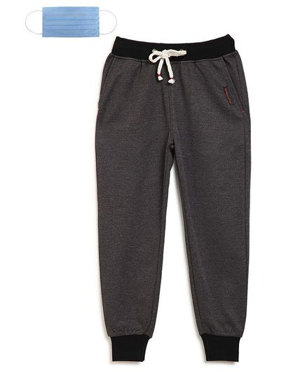 Li'L tomatoes Solid Track Pants With 3 Ply Face Mask - Grey