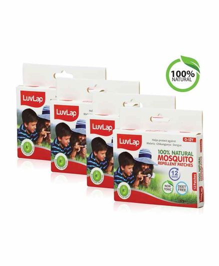 Luv Lap Natural Mosquito Repellent Patch Pack of 4 - 12 Patches each