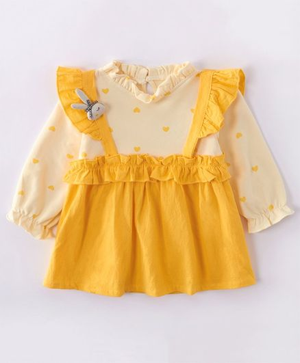 Kookie Kids Peasant Sleeves Printed Frock Bunny Applique - Yellow