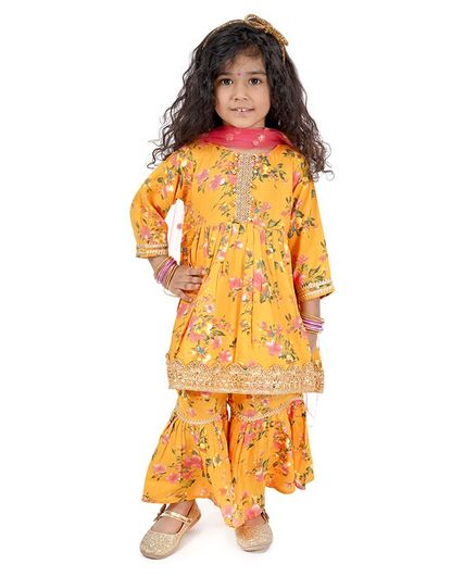 Little Bansi Full Sleeves Floral Print Kurti With Sharara Pants & Dupatta - Yellow