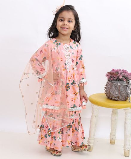 Little Bansi Butterfly Print Full Sleeves Flared Kurti With Sharara & Dupatta - Peach