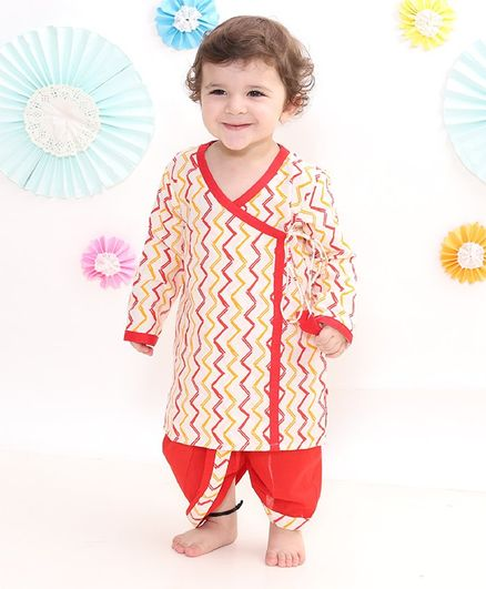 Little Bansi Zig Zig Zamna Style Full Sleeves Kurta With Dhoti - Yellow Red