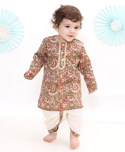 Little Bansi Full Sleeves Jaipuri Style Floral Motif Print Kurta With Dhoti - Brown