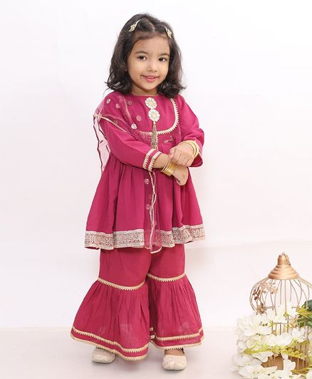 Little Bansi Gota Work Full Sleeves Kurti With Sharara & Dupatta - Maroon