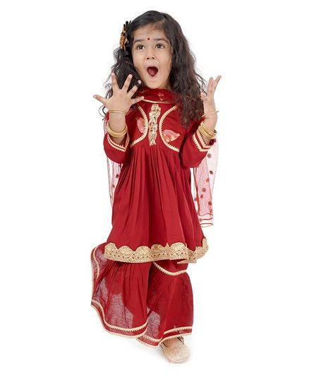 Little Bansi Full Sleeves Leaves Embroidered Kurti With Sharara & Dupatta - Maroon