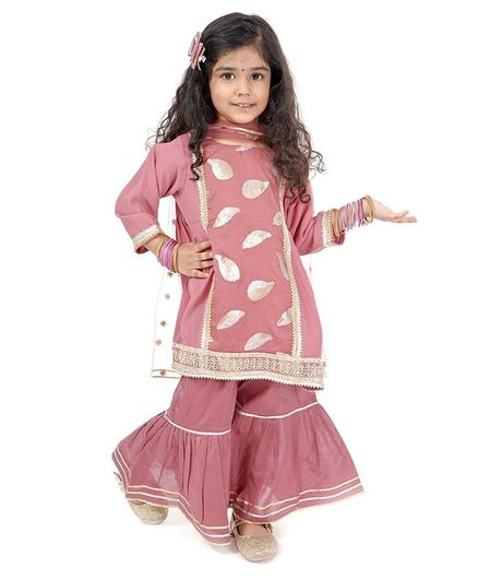 Little Bansi Foil Leaves Print Full Sleeves Kurti With Sharara & Dupatta - Pink