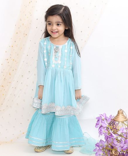 Little Bansi Full Sleeves Zardosi Work Kurti With Sharara & Dupatta - Blue