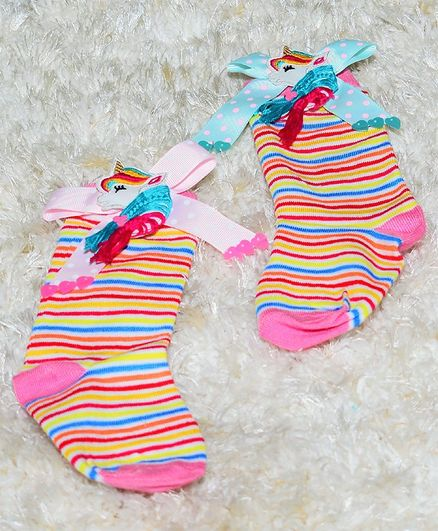 Tipy Tipy Tap Striped Unicorn Bow Socks  - Multi