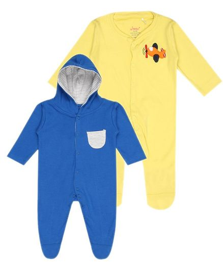 whaou Aeroplane Embroidered Full Sleeves Pack Of 2 Footed Rompers - Yellow & Blue