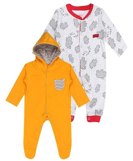 whaou Printed Full Sleeves Pack Of 2 Footed Rompers - Yellow & Grey